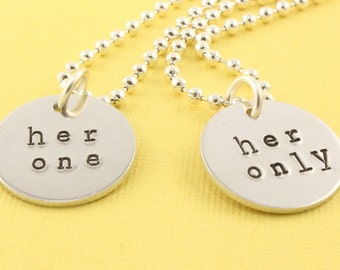 Her One Necklace - Her Only Necklace - Couples Necklaces - Best Friends Necklaces - LGBTQ Necklaces - Lesbian Necklaces - Silver Necklaces