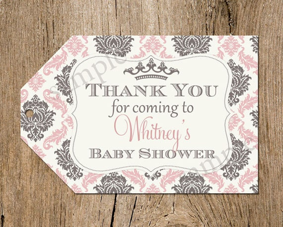 baby shower favor tags princess damask printable