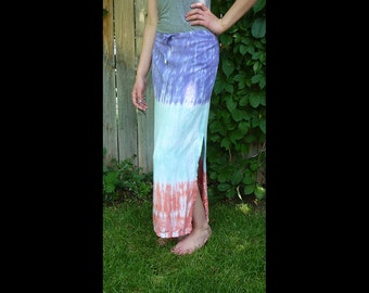 Womens rayon long skirt- tie-dye