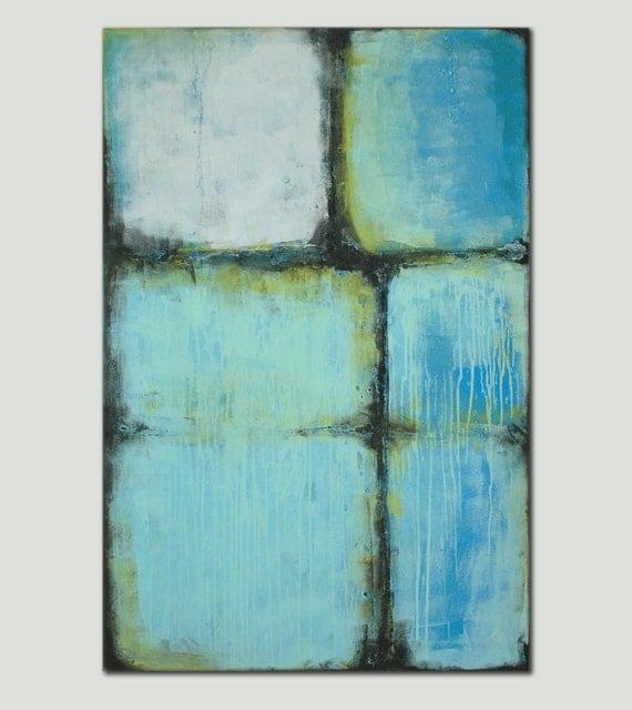 Peinture abstraite grand turquoise bleu acrylique 80 for Peinture bleu turquoise