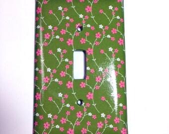Green Pink Flowers Single Lightswitch Plate