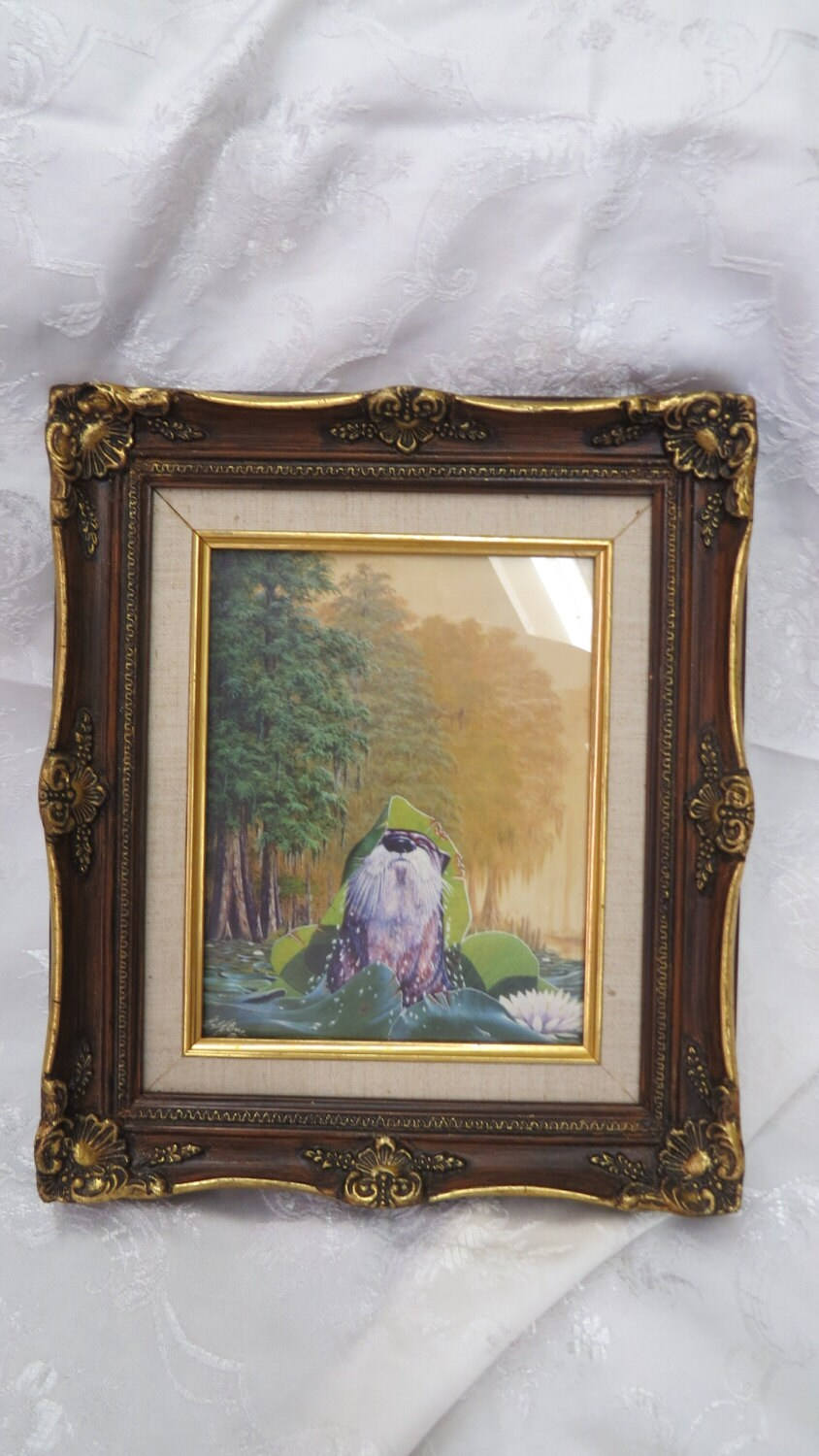 vintage print by guy labree the bearfoof artist wildlife