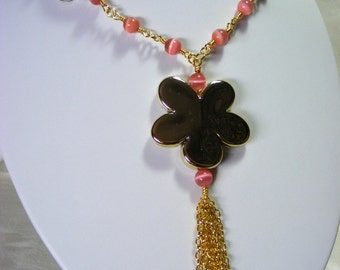 Pink Cats Eye Necklace