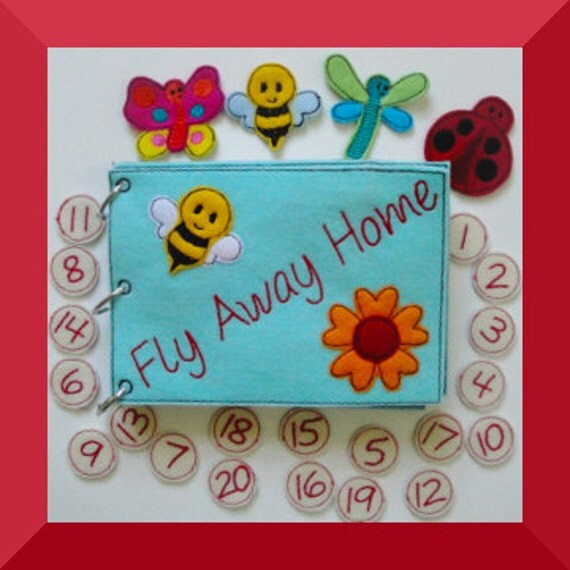 Quiet Book ITH Embroidery Design Fly Away Home Counting