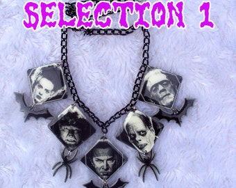 MADE TO ORDER, Universal Monsters Necklace, Dracula, Wolfman, Phantom, Frankenstein and Bride, Mummy, horror, gothic, spooky, creepy, unique