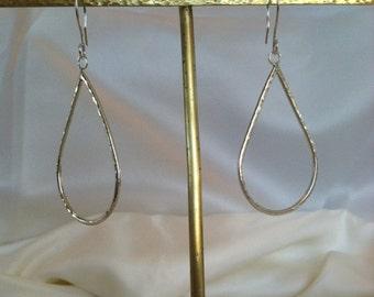 Sterling Silver Tear Drop Earrings - Hammered