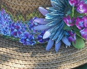 Painted Violets Woven Summer Hat, Ladies Wide Brimmed Hat, Violets, Chocolate Brown, Gift For Her