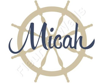 Nautical Nursery Decal - Sailboat Ships Wheel with Personalized Name Wall Decal for Baby Boy Nursery Decal or Boys Room Vinyl Wall Art BN003