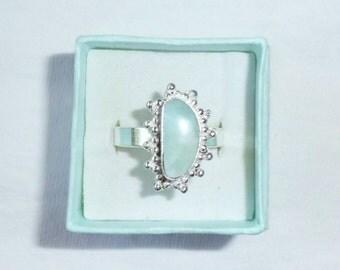 Genuine Larimar Gemstone Ring sz 10.5 Larimar Measures 13mm by 6mm