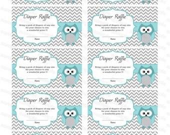 Owl Baby Shower Diaper Raffle Ticket Diaper Raffle Card Diapers Raffles Baby Shower Games Printable Digital Files blue printable party decor