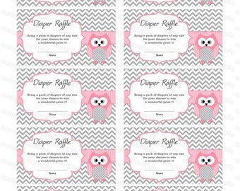 Owl Baby Shower Diaper Raffle Ticket Diaper Raffle Card Diapers Raffles Baby Shower Games Printable Digital Files rose printable party decor
