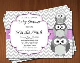 Owl Baby Shower Invitation Girl Baby Shower invitations Printable Baby Shower Invites FREE Thank You Card - editable pdf Download 543 violet