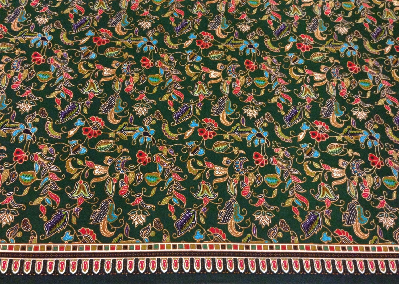 SALE Batik sarong fabric Green printed floral batik /
