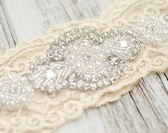 Champagne Garter Wedding Bridal Garter Set Vintage Lace Heirloom Rhinestone Pearl Vintage