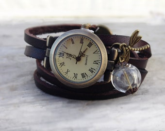 Wrap Watch, Bracelet Watch Wrist Watch, Vintage Watch with Dandelion Bracelet: brown