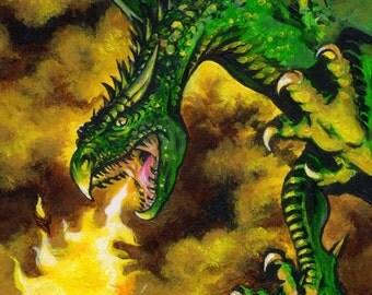 FLAMING DRAGON - Beautiful Glossy A4 Art Print (29.7 x 21cm)