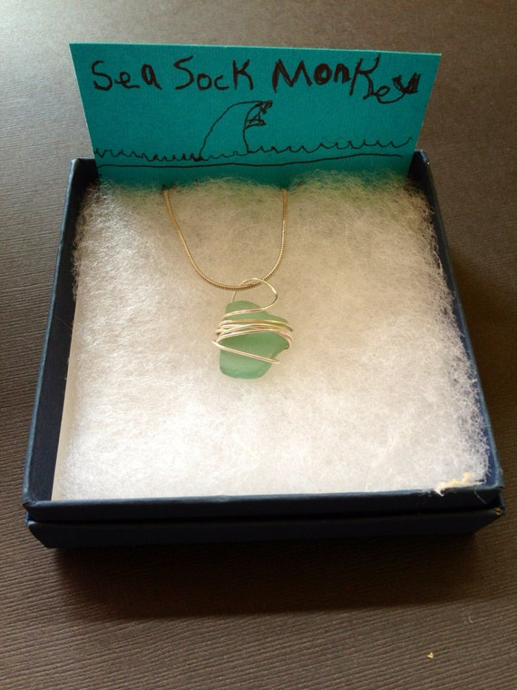 Wire wrapped maui rare blue sea glass pendant hawaii for Wedding dress shadow box for sale
