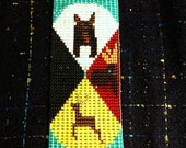 Native American Loom Beaded  Iroquois Medicine Wheel, Bear, moose, deer and panther Wall Hanging with leather ends