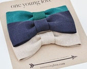 Baby Boy Onesie with 3 Snap-On Bow Ties - Teal, Navy and Natural Collection