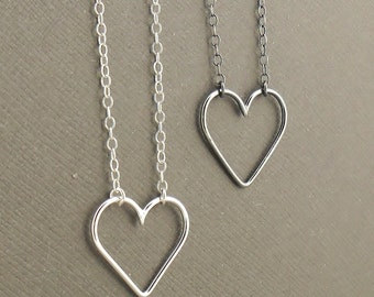 Minimalist Heart Necklace - Sweetheart Sterling Silver Necklace 925 - Silver Jewellery - Romantic Gift