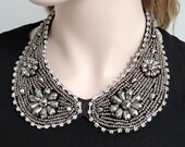 10% OFF Flower Peter Pan Collar Necklace, Beadwork Necklace, Vintage Inspired Swarovski Crystal Rhinestone Statement Necklace-120851058
