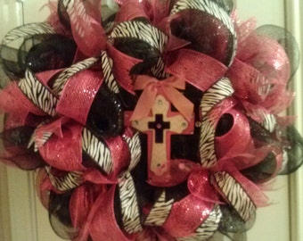 Hot Pink & Zebra Cross Mesh Wreath