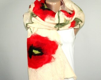 Felted Scarf, Poppy Scarf, Cream Color, Poppies, Felt Scarf, Cobweb Scarf
