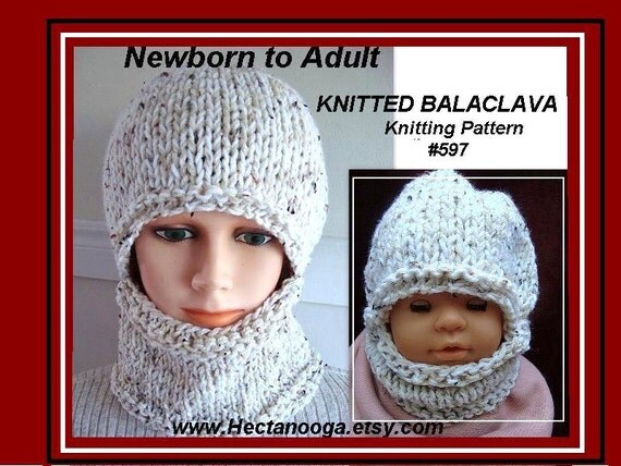Balaclava Knitting Pattern Straight Needles : KNITTING PATTERN hat Easy Balaclava or hat and cowl