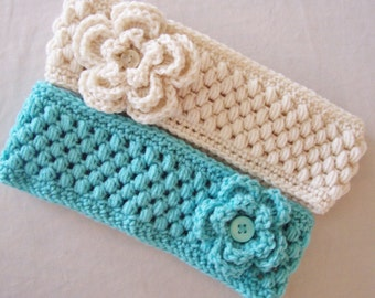 Adult Puff Stitch Ear Warmer with Flower - Teen, Woman - Any Color - Headband
