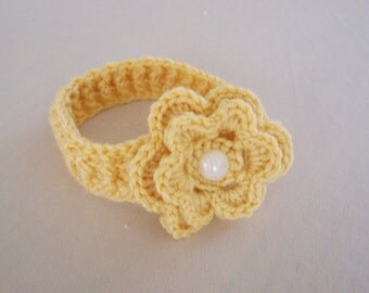 Baby Ribbed Headband with Button Flower - 0 to 3 Months, 3 to 6 Months, 6 to 12 Months - Any Colors
