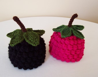 Kid's Raspberry or Blackberry Hat - Toddler, Child - Black, Raspberry Pink - Fruit, Berry, Harvest