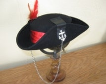 Black Pirate Hat - Leather on Wool with a Button, Anchor Charms, Chain and Feathers