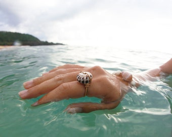 Gold Wire Wrapped Puka Shell Ring