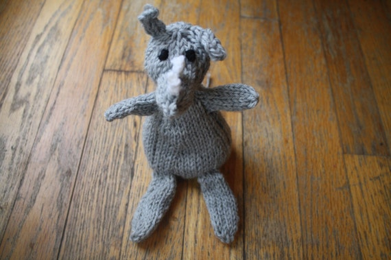 Ready to Ship New Hand Knit Stuffed Storm Grey Rhino Ragdoll with White Horns and Black Eyes