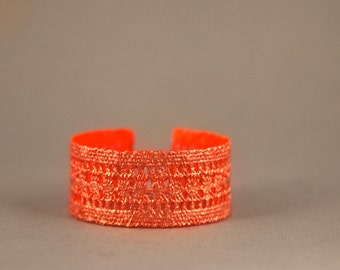 """Copper Lace Bracelet """"Funky Neon"""" // Lace Copper-plated with Metal Leaf, Neon Orange Inside // Manufactured"""