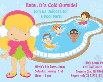 Winter Pool Party Invitation - Indoor Pool Party Birthday Invitation - Printable for Girls