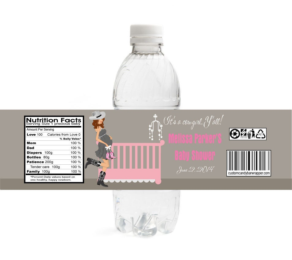 cowgirl baby shower water bottle labels set of 10 western