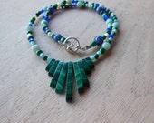 geometric malachite necklace with semi precious stones