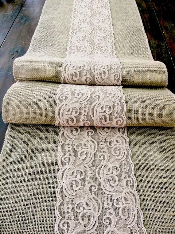 jute l ufer hochzeit tisch tischl ufer mit tief beige spitze. Black Bedroom Furniture Sets. Home Design Ideas