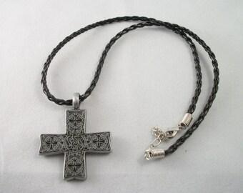 Pewter Cross on black, braided cord