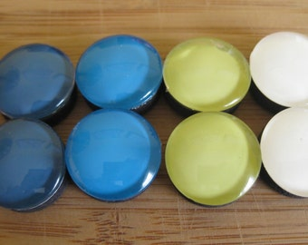 Blue, teal, green, and white glass magnets (One set of 8)