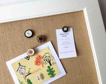 Burlap bulletin board OVERSIZED framed magnetic memo board, tan burlap, modern office, rustic wedding, place card display, neutral decor