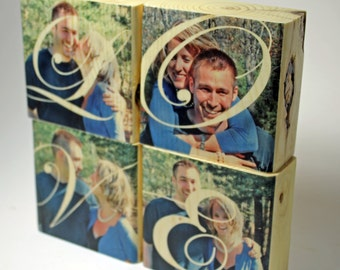 LOVE Personalized Photo Wood Block Set: Engagement Gift, four 3x3 Photo Blocks, Rustic Gift for Him, Photo Gift, Anniversary, Wedding Gift