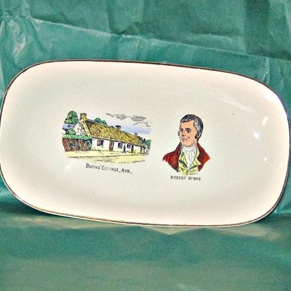 Vintage Robert Burns Plate McEwan & Hendry Glasgow Scottish Poet Commemorative Pottery