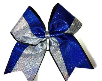 Cheer Bow,Royal Blue,Silver-View A