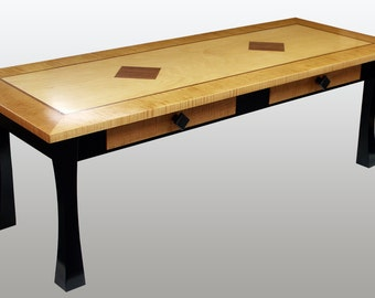 Coffee Table - Maple Veneer, Curly Maple Hardwood,with Mahogan Inlay