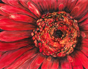 Large Red Flower Close-up Watercolor Painting 10x14