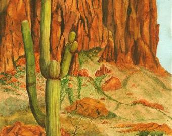 Desert Southwest Landscape Painting, Saguaro Cactus, Print from Original Watercolor Painting, Print 10.5x14,