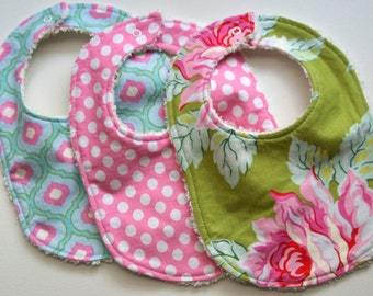 Baby Bibs - Set of Three - lime green, pink, and turquoise