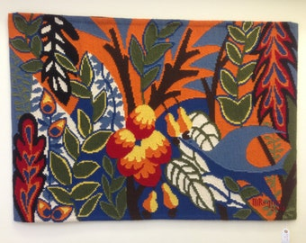 "Colorful Tropical Tapestry Signed & dated by The Artist 52"" x 36"""